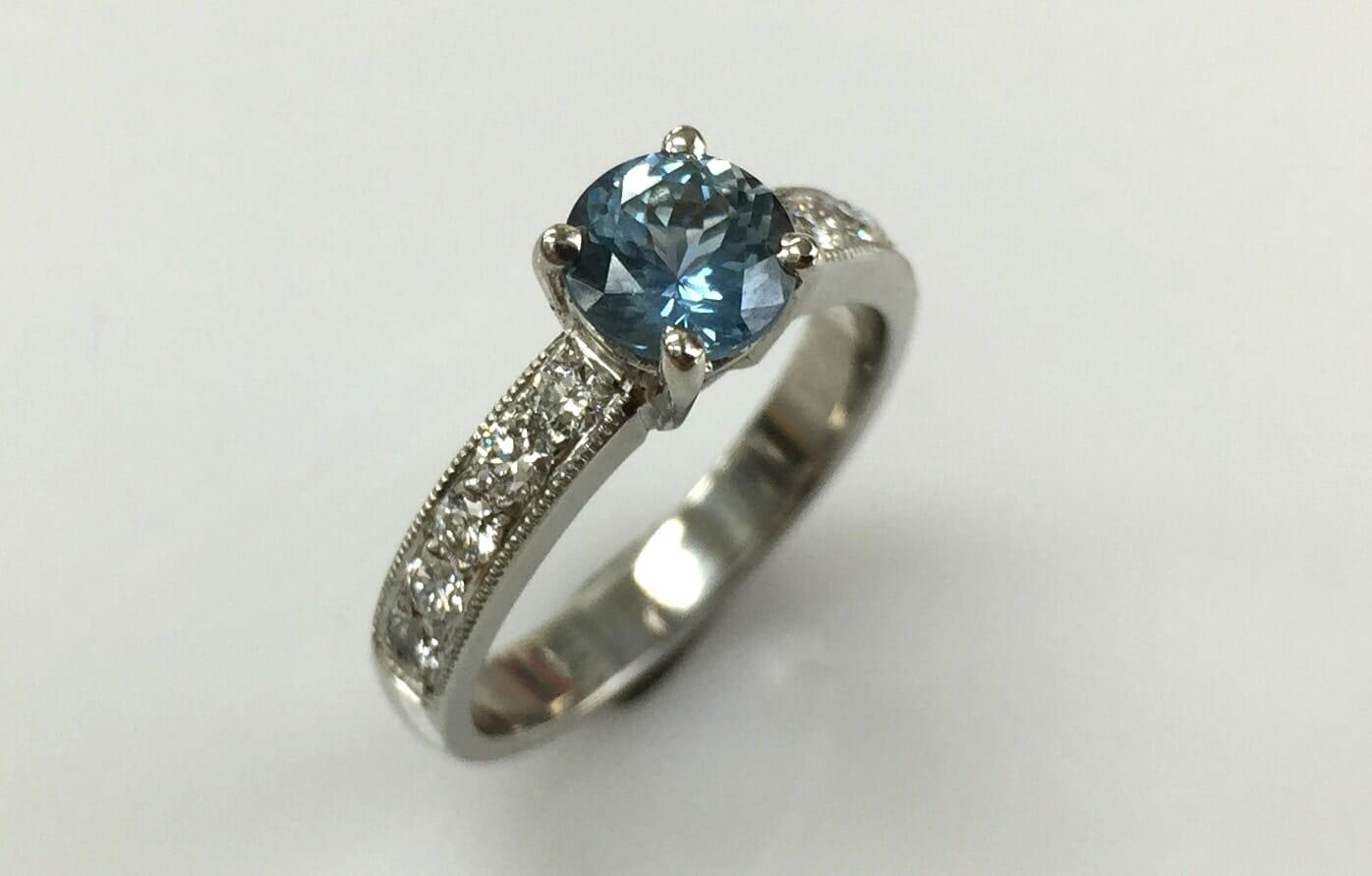 Maureen Montana sapphire ring with side diamonds