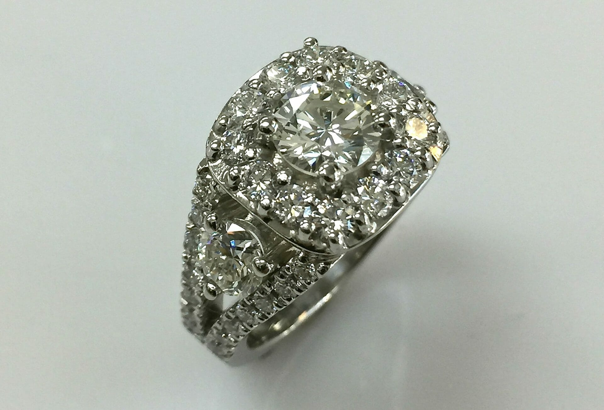 top view Regina split shank diamond halo engagement ring