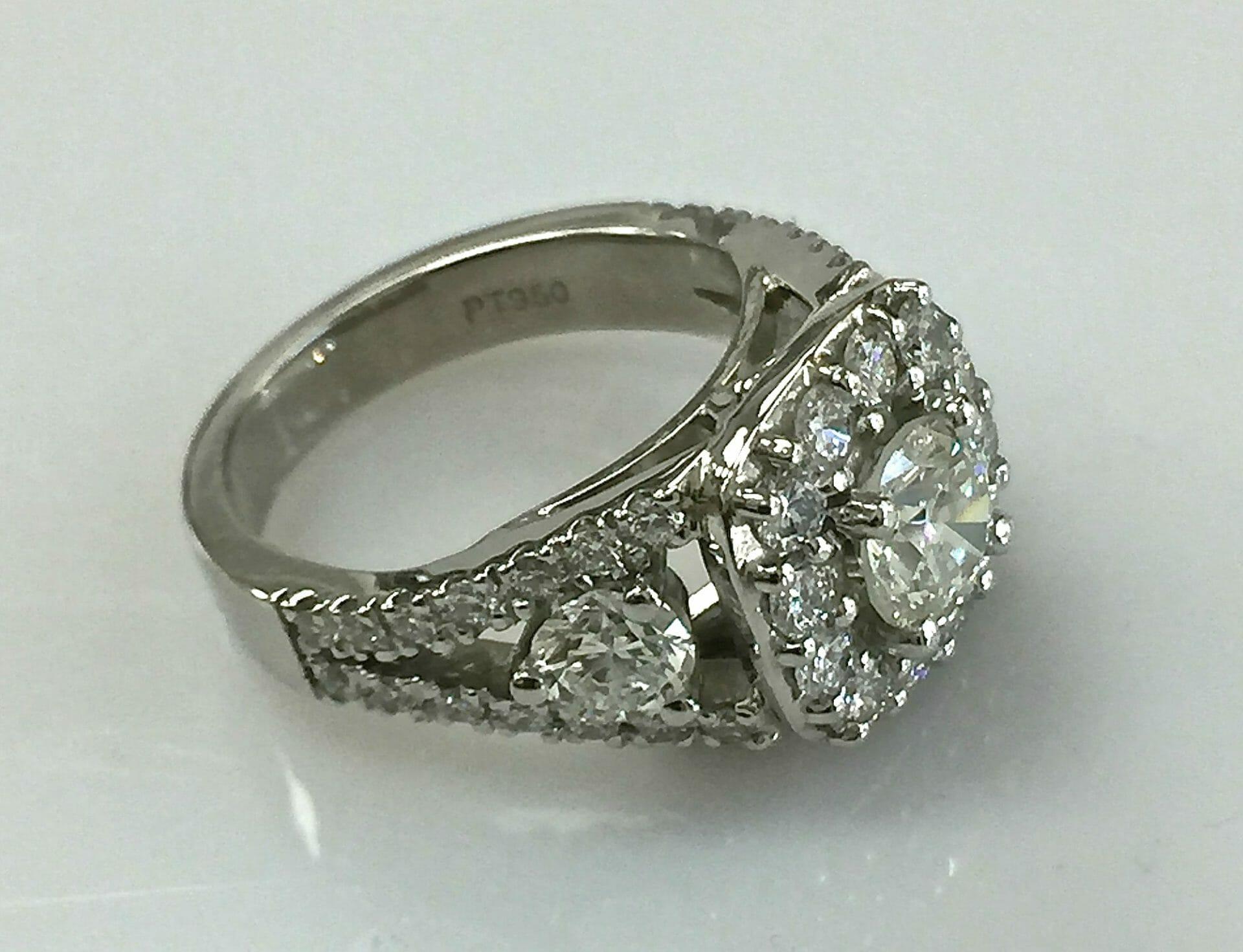 side view Regina split shank diamond halo ring