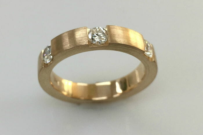 mimi yellow gold diamond wedding band front view