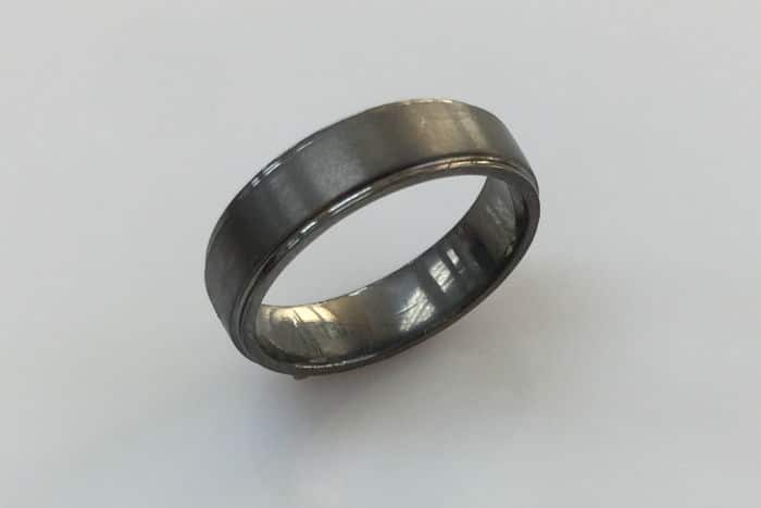 oxidized platinum 6 mm mens wedding ring