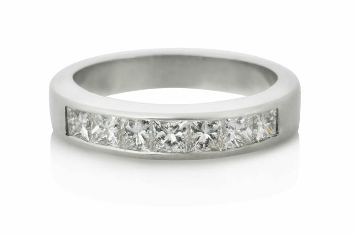 Platinum Princess Cut Diamond Channel Band