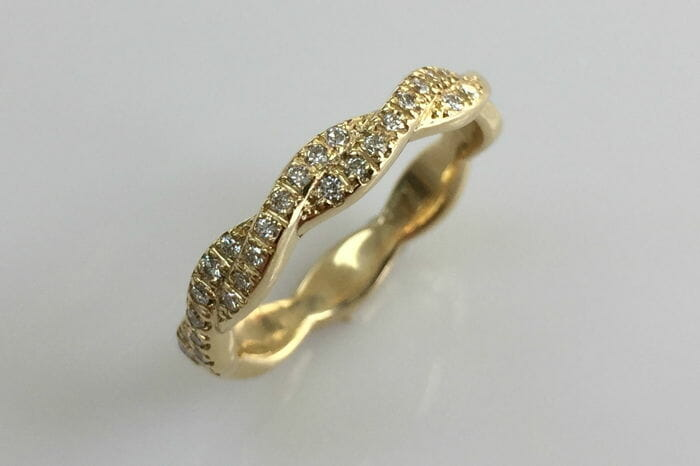 christine yellow gold braided diamond wedding ring