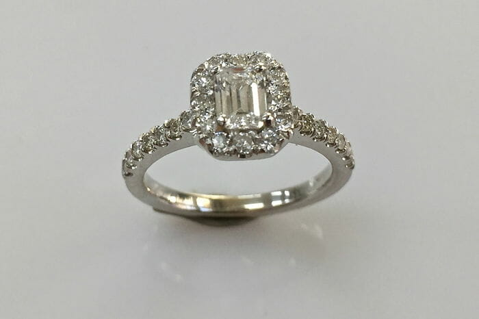 christy emerald cut ring front view