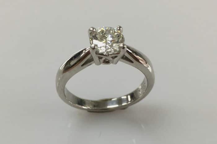 Kathryn solitaire diamond engagement ring basket weave front view