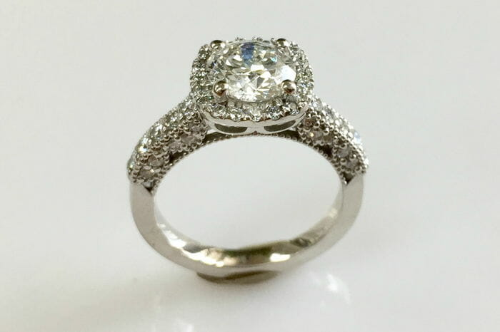 maria cushion halo diamond ring side view