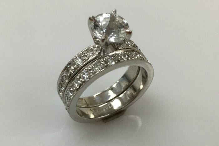 White Sapphire Wedding Ring Set Keezing Kreations