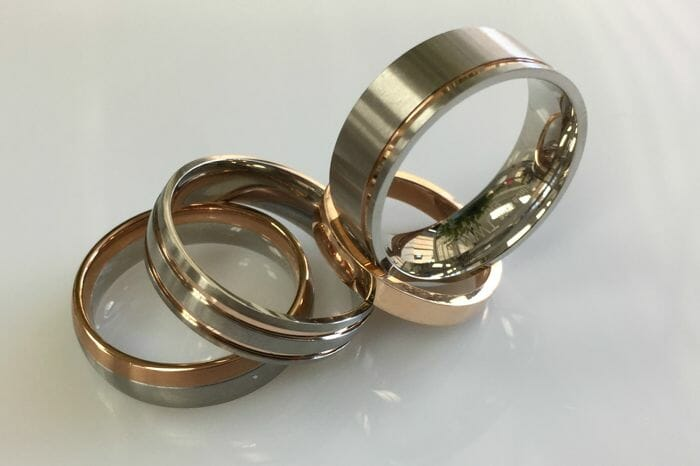 assortment of custom wedding rings by Keezing Kreations