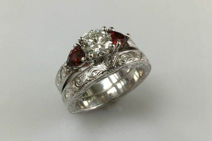 tereza vintage garnet engagement ring and matching wedding band