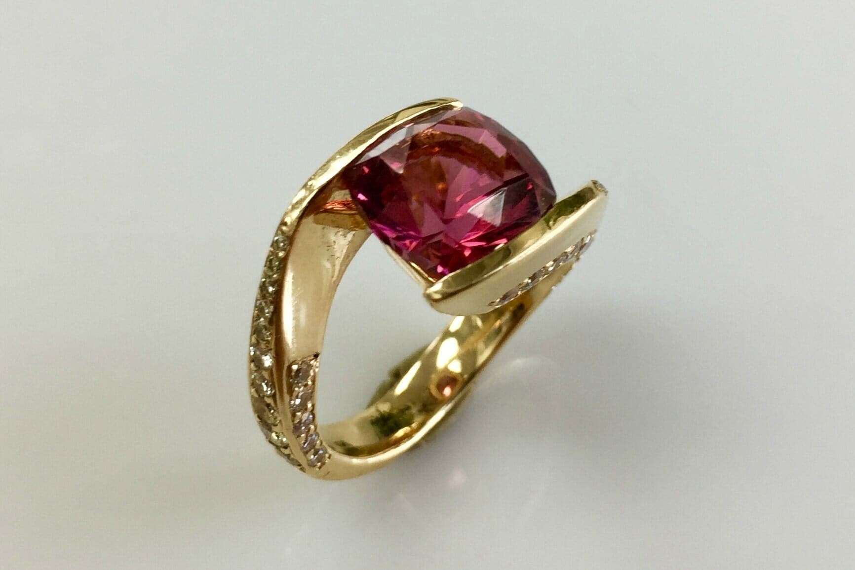 allyn pink tourmaline diamond bypass ring top view
