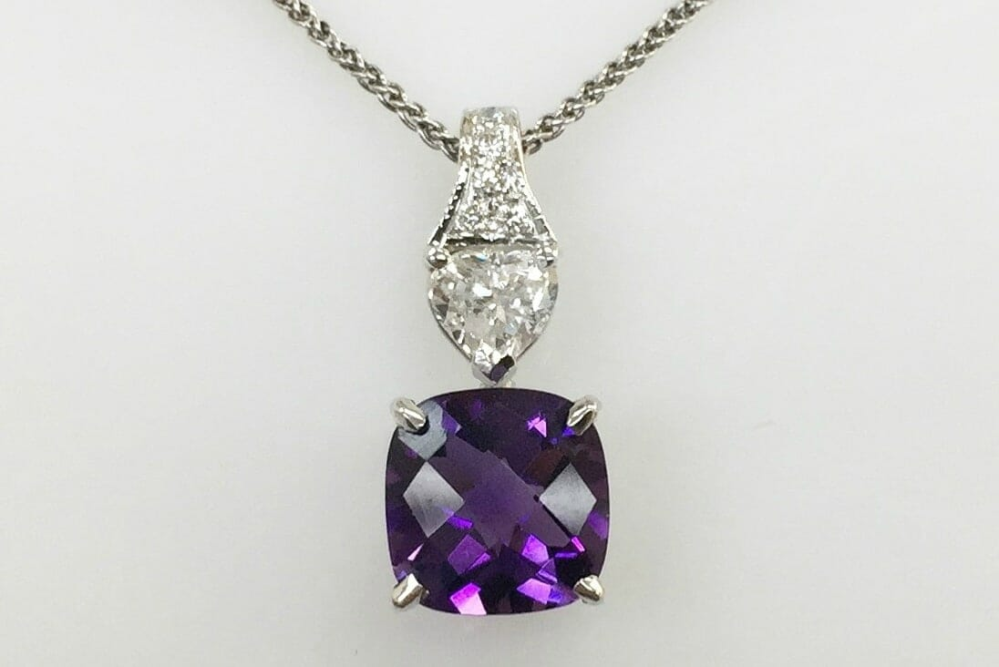 14k white gold necklace with diamond and purple amethyst pendant