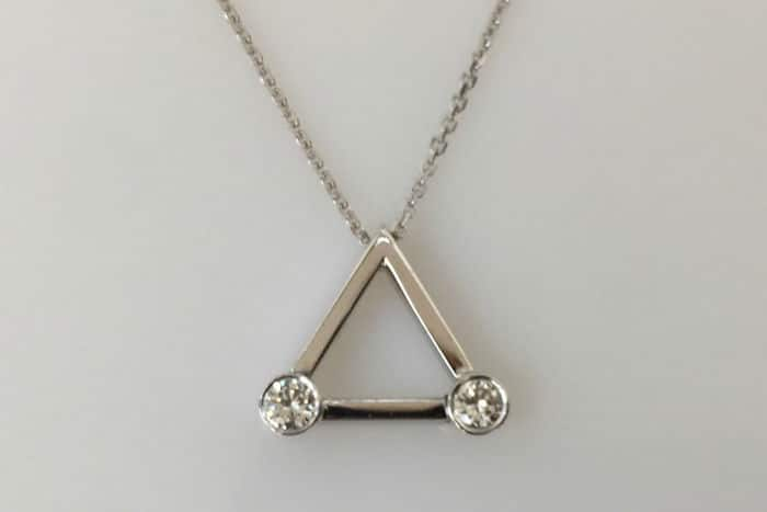 white gold diamond triangle pendant