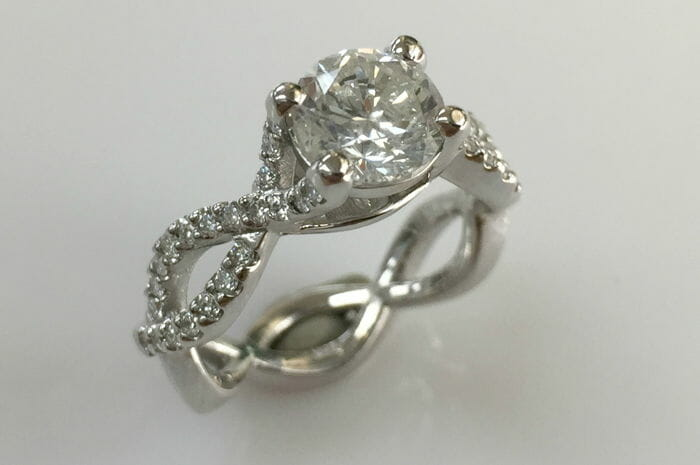 18k white gold diamond infinity ring