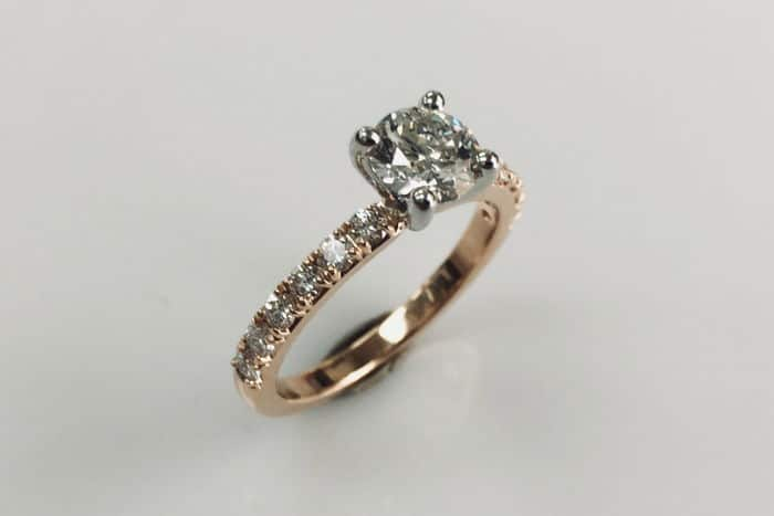 18k rose gold diamond solitaire engagement ring