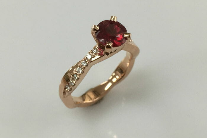 julie 18k rose gold ruby diamond ring side view
