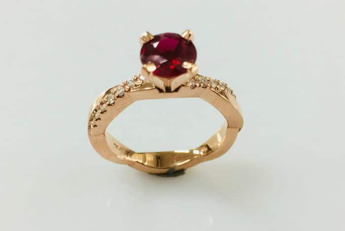 julie 18k rose gold ruby diamond ring front view