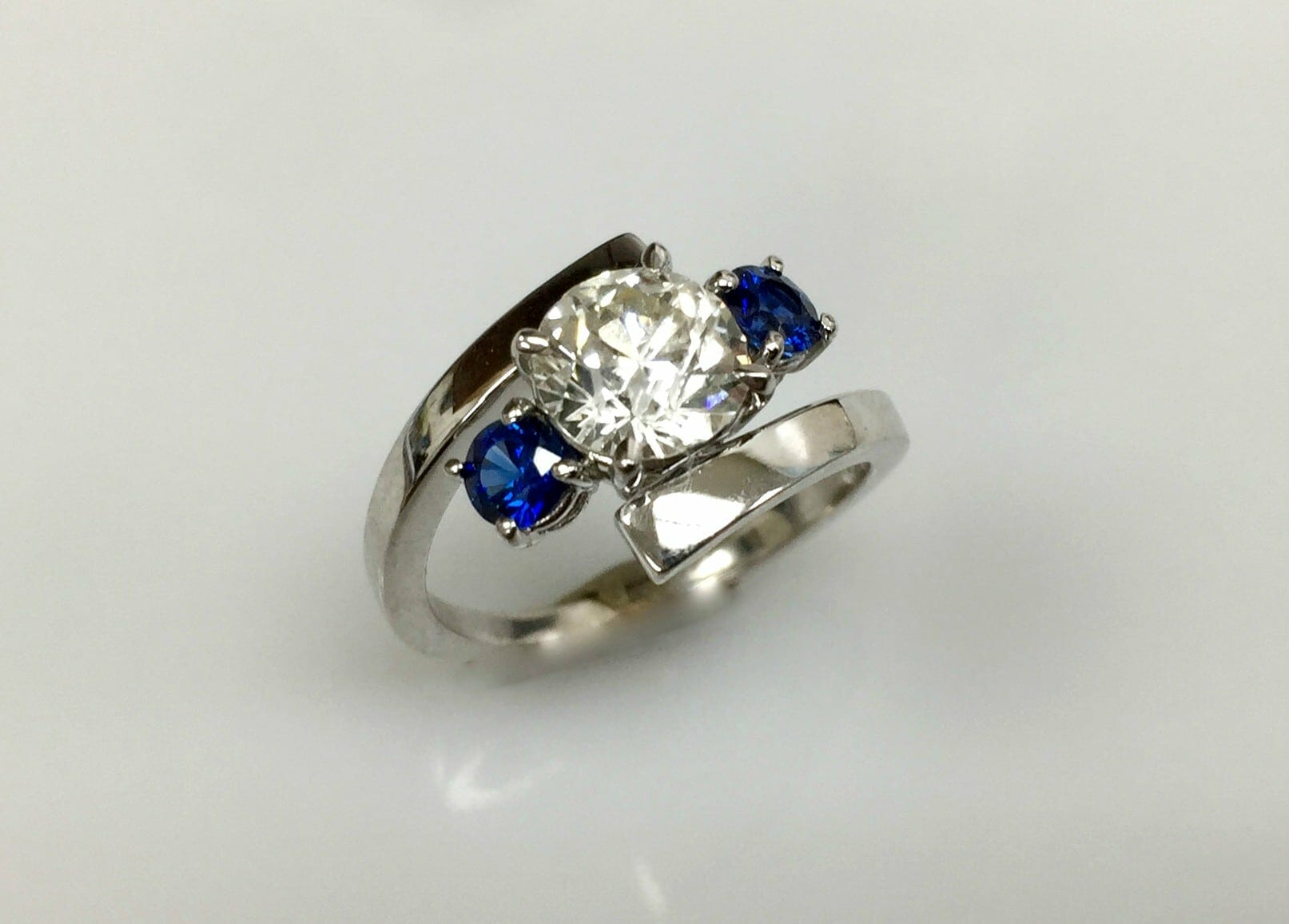 Platinum Marquise Sapphire and Diamond Wedding Band