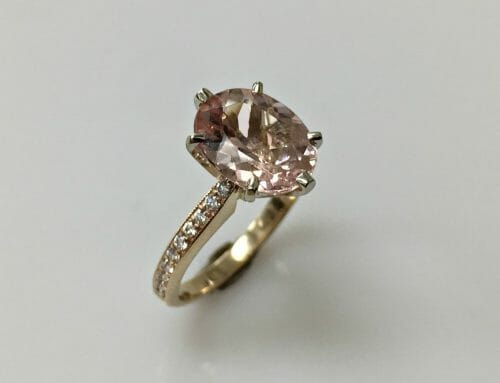 Peggy Morganite Oval  and Diamond Ring