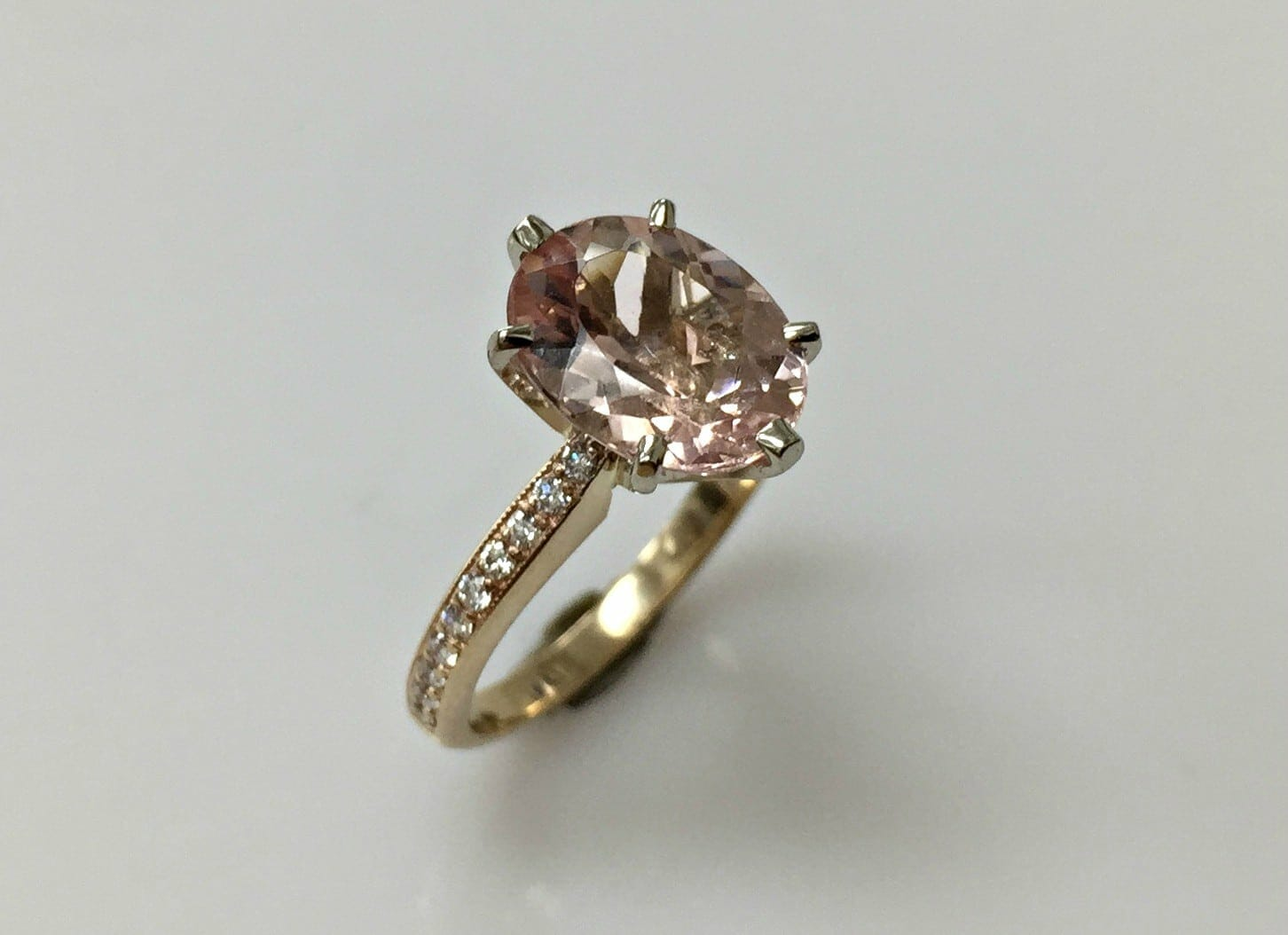 Morganite Oval and Diamond Ring