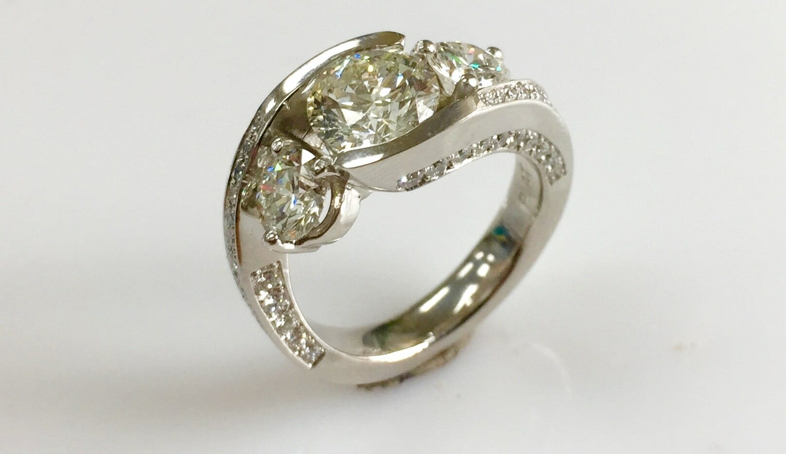 Mary 3 Stone Bypass Platinum Ring