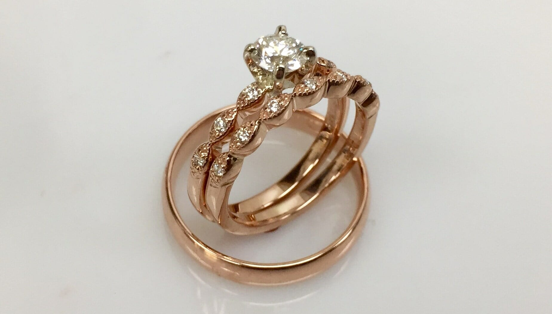 Moon and Patrick's Matching Rose Gold Wedding Bands