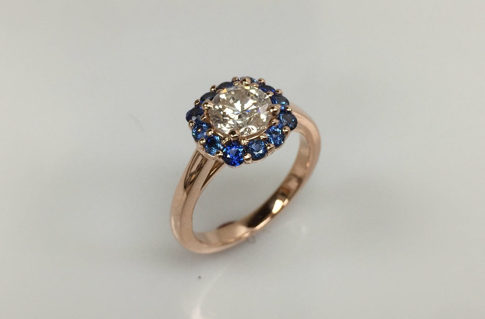 Lea Diamond and Sapphire Halo Ring