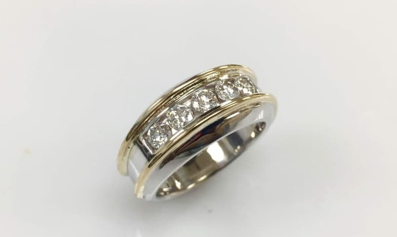 Men's 14K White and Yellow Gold Diamond Band