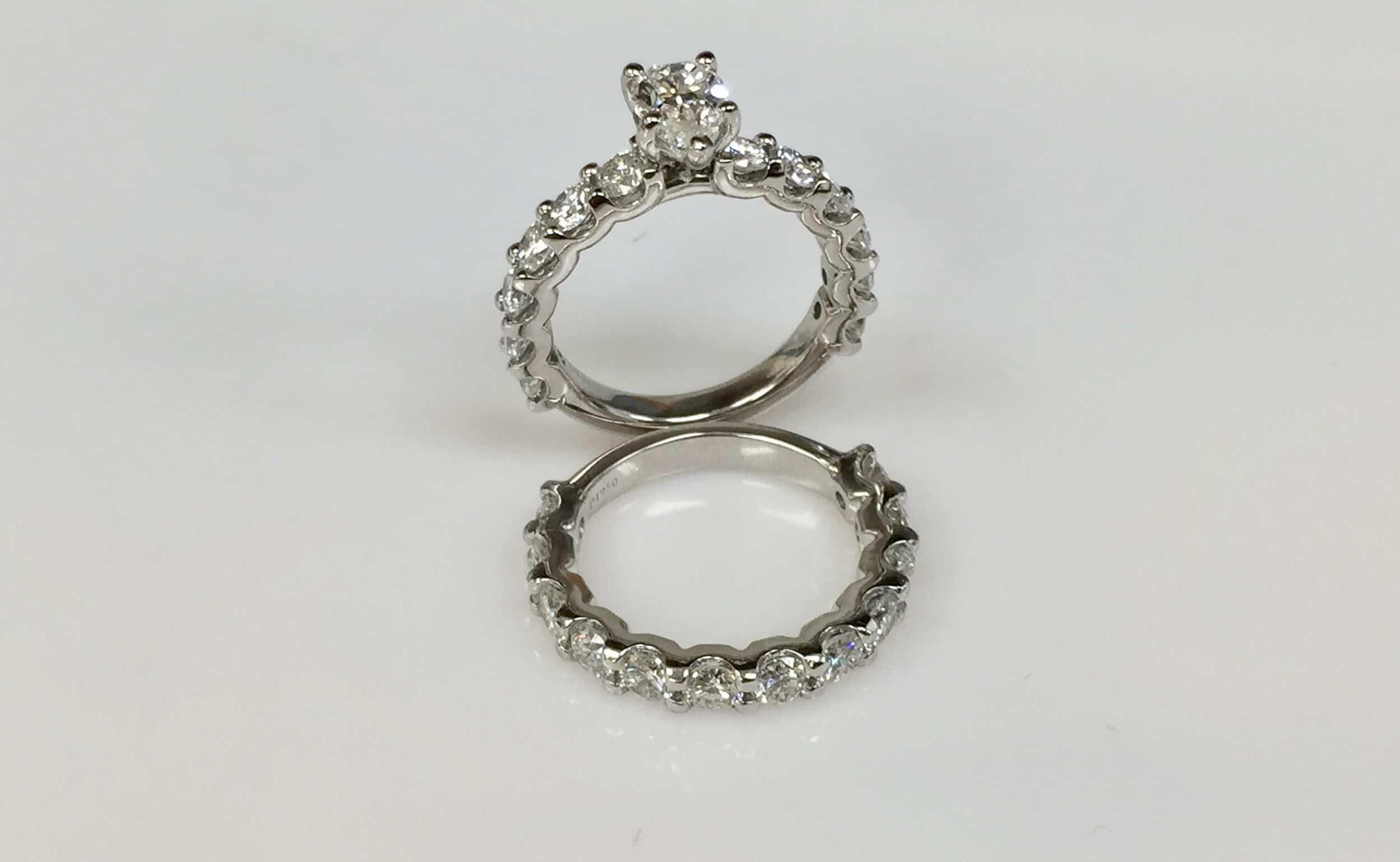 Custom Made Wedding And Engagement Ring Set